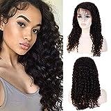 Perruque Femme Naturelle 100% Cheveux Humains Bresiliens Ondulé Deep Wave - Lace Front Frontal Wig Naturel Human Hair (Densité: 130%, Longueur: 20'/50cm)