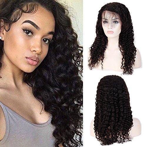 Front Perücke Echthaar Wigs for Black Women Brasilianische Haare Naturschwarz #1B Deep Wave mit Baby Hair für Frauen 30cm-130g ()