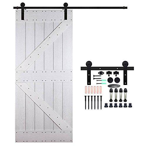 Ccjh 6ft-183cm scorrevole binario ruote rulli hardware della porta kit accessori per singolo porta scorrevole in stile rustico simple shaped