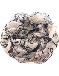 NB24 Versand Damen Loop Schal (Marilyn Monroe), Damenmode, Endlosschal, puder mit schwarzen Motiven, Damenbekleidung, Damenschal, Tuch