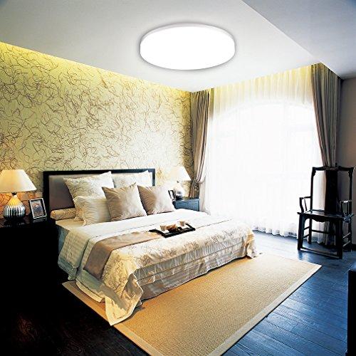 J&C 18W 1550lm IP44 Rund-Form Naturweiß LED Deckenleuchte 4000-4500K 280*48mm SMD2835* 161 Leds Deckenlampe für Wohnzimmer Schlafzimmer ersetzt 100W Traditionelle-Lampe
