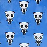 Blaues Wachstuch mit Pandas