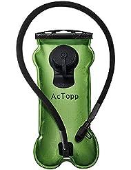 AcTopp Bolsa de Agua Portátil 3L de Hidratación Vejiga de Agua con Tapa Anti-Polvo para Boquilla Camping Ciclismo Deporte Al Aire Libre EVA+TPU Color Verde