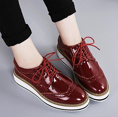 pendenza pizzo scarpe ascensore singolare femminile scarpa signora primavera con le scarpe della focaccina della crosta spessa wine red