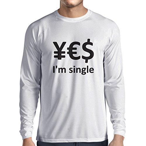 N4596L T-Shirt mit Langen Ärmeln Yes, I\'m Single! (XXX-Large Weiß Schwarz)