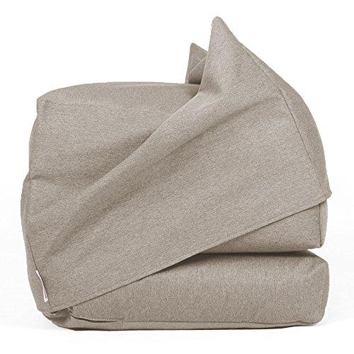 Arketicom FU-TOUF Weicher Hocker, der zum Klappbett wird Klappbare Matratze oder Klappstuhl für Gäste Puff Room in Futon Stoff Gepolstert in Styroporkugeln 63x63x45/190x63x15 (Creme) (grau beige) (Gepolstert Futon)