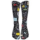 ZENGYAN Back to School Algebra Black Knee High Graduated Compression Socks for Women and Men - Best Medical, Nursing, Travel & Flight Socks - Running & Fitness...
