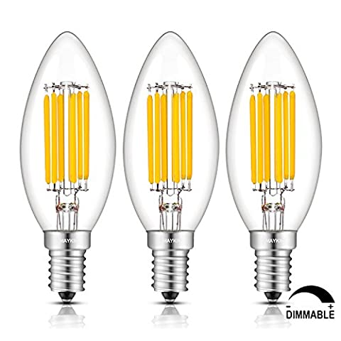 TAMAYKIM 6W Dimmable LED Filament Candle Light Bulb, 2700K Warm