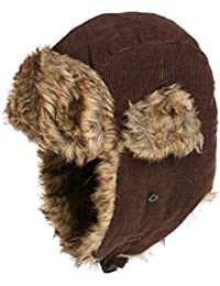 Chocolate Brown Cord Trapper Hat