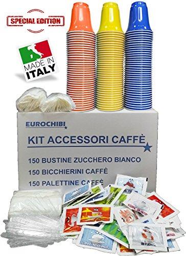 KIT ACCESSORI CAFFÈ con 150 BUSTINE DI ZUCCHERO + 150 BICCHIERINI + 150 PALETTINE - EUROCHIBI LINEA ALTA QUALITÀ