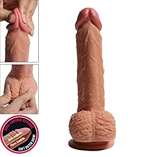 Pure Zwei-Layer-Silikon Dildo Soft Outside und Firm Inside Penis mit starken Saugnapf Real Dong Penis Nachbildung, 21 cm lang Ø 4 cm Haut