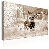 murando Bilder Hirsch 120x80 cm - Leinwandbild - 1 Teilig - Kunstdruck - Modern - Wandbilder XXL - Wanddekoration - Design - Wand Bild - Natur Tier Landschaft g-C-0057-b-d