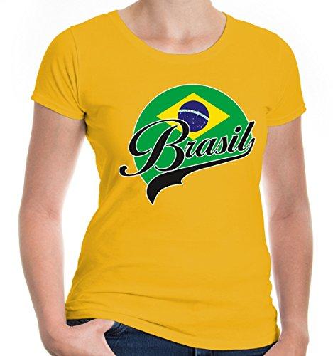 e T-Shirt Brasilien Logo | Brasil Brazil Amerika Ländershirt Fanshirt Flagge Trikot Reise | S, Gelb (Cop Outfit Zu Halloween)