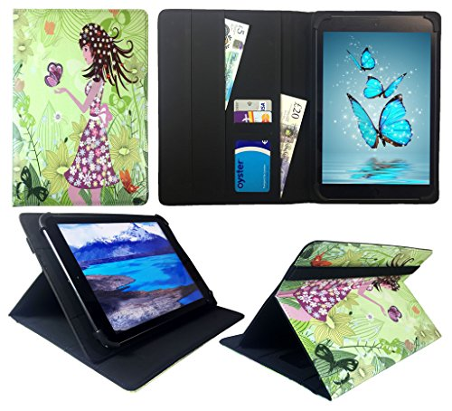 HKC One Thor M104Y 10.1 inch Tablet Mädchen mit Schmetterling Universal Wallet Schutzhülle Folio ( 10 - 11 zoll ) von Sweet Tech