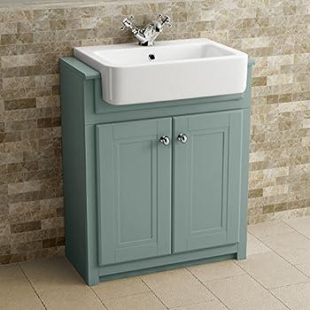 Traditional Bathroom Vanity Unit Furniture Floor Standing Storage Marine Mist