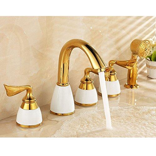Miscelatore per vasca da bagno in oro per doccia square hotel bagno d'ottone dorato