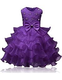 BOZEVON Niñas Vestido Fiesta con Lentejuelas Brillantes de Elegante Princesa Sin Mangas Cuello Redondo