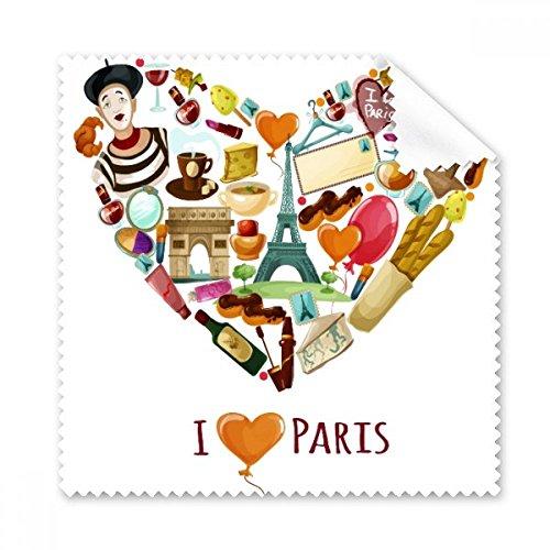 Frankreich I Love Paris Eiffelturm Arch of Triumph Herz Mime Croissant Gläser Tuch Reinigungstuch Geschenk Handy-Display von 5x -