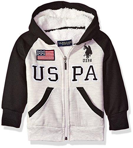 U.S. Polo Assn. Big Boys' Sherpa Lined Thermal Hoodie, Oatmeal Heather, 14/16 (Sweatshirt Thermal Sherpa)