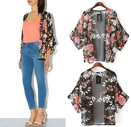 Tefamore 1PC Vintage Retro-Floral lose Schal Kimono Boho Chiffon Strickjacke Mantel Jacke (M) (Retro Vintage Snap)