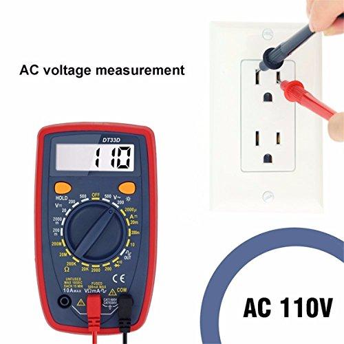 LCD Digital Multimeter, GOCHANGE Portable Auto Reichweite Messgerät / AC DC Ampere Voltage Meter Strom Ohm und Diode Circuit Tester mit Batterie und 2 Messleitungen, Rot-Schwarz für Auto, Labor