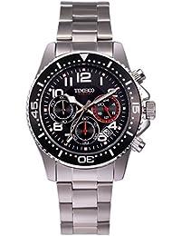 TIME100 Men's Business Multifunction Stainless Steel Calendar Black Quartz Watch #W70076G.02A