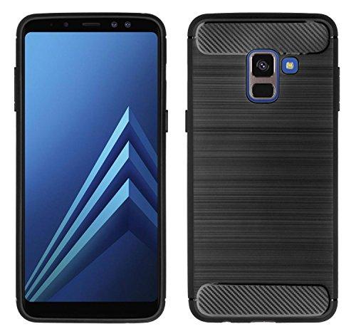yayago TPU Schutzhülle für Samsung Galaxy A8 2018 / A8 2018 Duos Hülle Protect Case Hybrid Look Schwarz