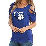 Damen T-Shirts Piebo Sommer Uni Basic Kurzarm Tops Oberteil Leichtes mit Schnürung Sport & Freizeit Schulterfrei 5 Farben S-2XL (XL, Liebe Drucken Blau)