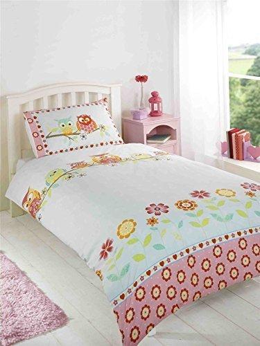 Eulen Blumenmuster Blumen gepunktet pink blau weiss Baumwollmischung einzeln 3 Stück Bettwäsche Set