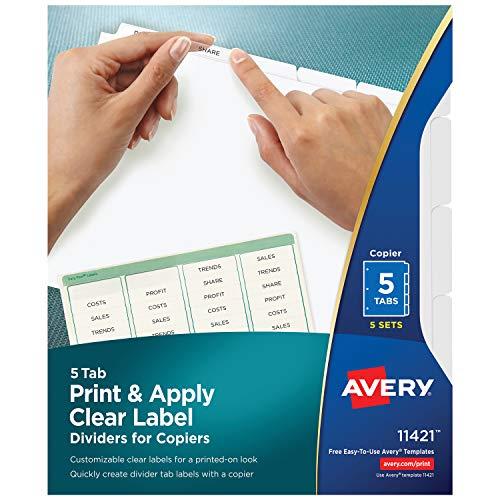 Avery 11421Trennblatt-Trennblätter (weiß, Letter) - Weiß Teiler 5 Tab