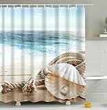 Seaside Rope Schalen Badezimmer Duschvorhang, Anti-Schimmel 100% Polyester Badewanne Duschvorhänge, 3D Effekt und Digitaldruck, Wasserdicht mit 12 weißen Haken, 180 x 180cm