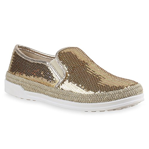 Damen Bast Sneakers Pailletten Slipper  Glitzer Slip-ons Gold