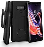 Encased Galaxy Note 9 Belt Case, DuraClip Series Slim Fit Shell Combo with Clip and Rubberized Grip Finish for Samsung Note 9 Phone (Smooth Black)