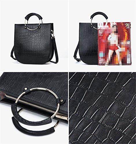 Xinmaoyuan Borse donna in pelle a molla Borsa Tote Pattern coccodrillo portatile borsa messenger,giallo Nero