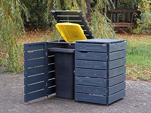 2er Mülltonnenbox / Mülltonnenverkleidung 240 L Holz, Deckend Geölt Anthrazit Grau - 2