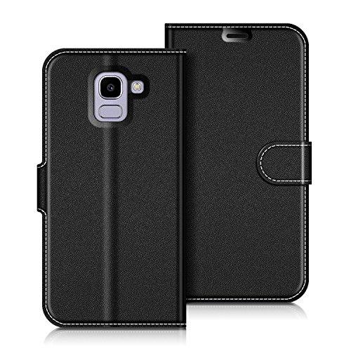 COODIO Samsung Galaxy J6 2018 Hülle Leder, Samsung J600 Lederhülle Ledertasche Wallet Handyhülle Tasche Schutzhülle Magnetverschluss für Samsung J600 Galaxy J6 2018, Schwarz