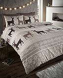 Elite Helsinki - Biber-Bettwäsche-Set - Wärmend - 100% Baumwolle - UK-Einzelbett - Taupe/Naturfarben