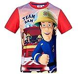 Feuerwehrmann Sam T-Shirt Jungen Rundhalsausschnitt (Rot, 116)