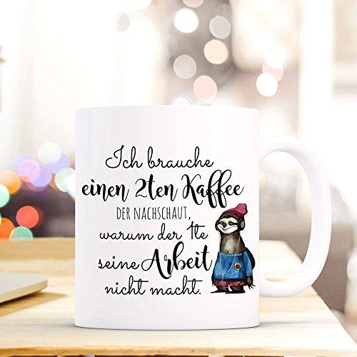 ilka parey wandtattoo-welt® Tasse Becher Kaffeetasse Kaffeebecher Faultier mit Spruch Ich brauche einen zweiten Kaffee… ts457