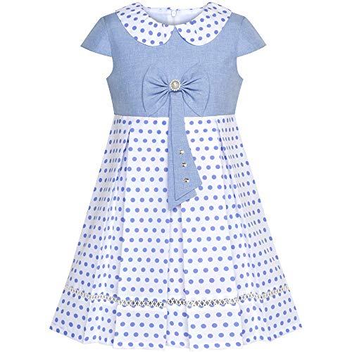 Kleid Blaue Uniform (Sunboree Mädchen Kleid Polka Punkt Schule Uniform Bogen Binden Perle Kappe Ärmel Gr. 134)