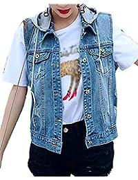 23d3d318f005 Damen Jeansjacken Ärmellos Slim Fit Mit Kapuze Jeansweste Vintage Jungen  Fashion Elegante Freizeit Große Größen Denim Weste Kurzmantel…