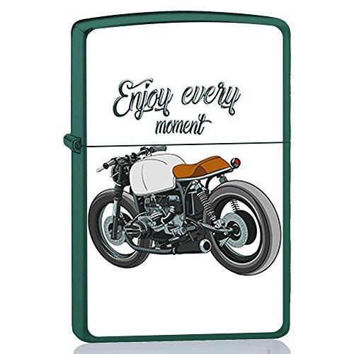 BJJ Accendino verde, accendino a benzina con design: Moto classica, cafe racer enjoy every moment