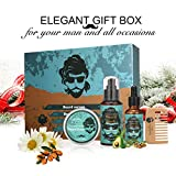 Beard Grooming Kit Luckyfine Moustache Care Gift Set for Thanksgiving, Christmas, for Father