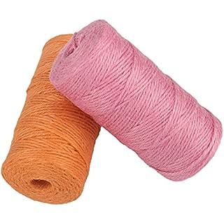 Natural Jute Rope Twine 656 Feet 3 Ply 2mm Colored String Cord for DIY Arts Crafts Gardening Bundling Gifts Decoration (Pink+Orange)