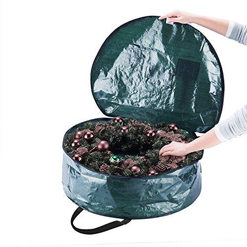 Borsa in Tesutto Corona Di Natale - 61x10cm Ghirlanda Storage Bag Protettiva e Resistente Lungo - Custodia Zip Up Sack Box per Decorazioni di Sacchetto Corone Natalizie e Maniglie Di Trasporto