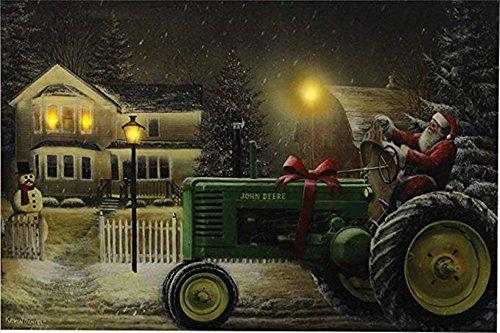 Santa auf Traktor 61x 40,6cm LED-Beleuchteten Art Wand