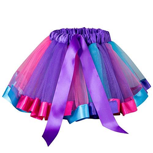 Yvelands Mädchen Tutu Kleid Tütü Rock Mehrfarbig Kostüme Petticoat Reifrock Unterrock Petticoat Underskirt Kleid für Party Hochzeit Show(2T-6T)(L(5-6T),C)