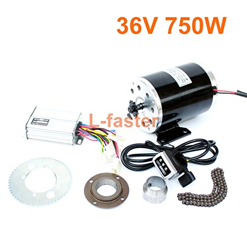 L-faster 750W Electric Motorbike Engine Kit High Speed Electric Burshed DC Motor DIY Electric Kids Go-cart Chain Drive More than 30km/h (36V thumb kit)