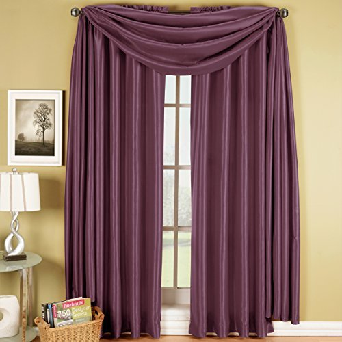 Soho-panel (Exquisite Draperies Soho Rod Pocket Faux Silk Window Treatments, Contemporary D?or Panels, Valances & Scarfs, Panels Available in 63, 84, 96 & 108 Inches Length, Complete Modern Look With Matching Valance and Scarf, 42 Inches by 216 Inches Scarf, Purple by Exquisite Draperies)