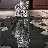 5D-Strassstein-Gemälde, vollständiges Set, Bastelarbeit, handgemachte Strass-Stickerei, Kreuzstich-Set, Mosaik, Heimdekoration, Motiv: Katze und Tiger 50x50cm